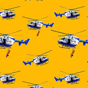 Fabric - Patchwork Wildfire Heroes Helicopters Yellow