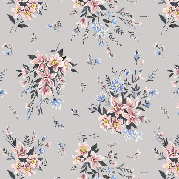 Liberty Fabrics Winterbourne Bouquet Grey