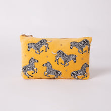 Load image into Gallery viewer, Zebra Travel Pouch Yellow