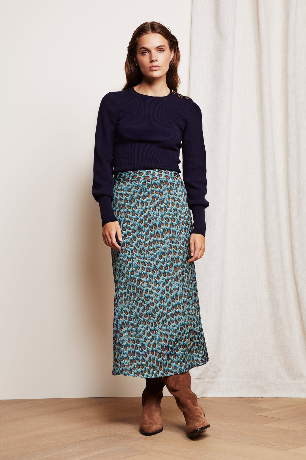 Claire Skirt Peacock Party Blue