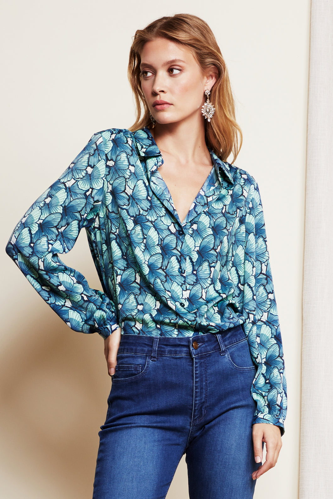 Mira Blouse Butter Oh So Fly Cashmere Blue