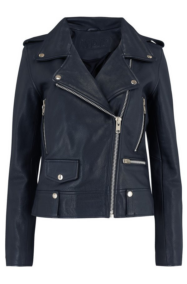 Seattle Colour Leather Jacket Blue