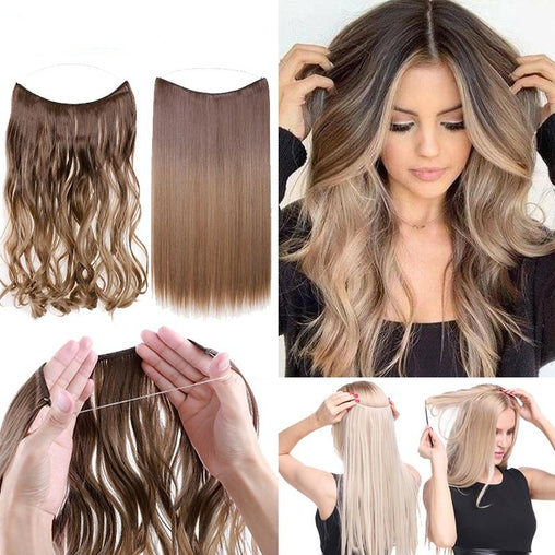 BENEHAIR Invisible Wire No Clips Hair Extensions - powermakeup