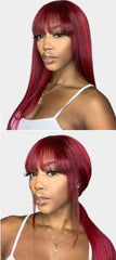 Allove Straight Wig With Bangs Red