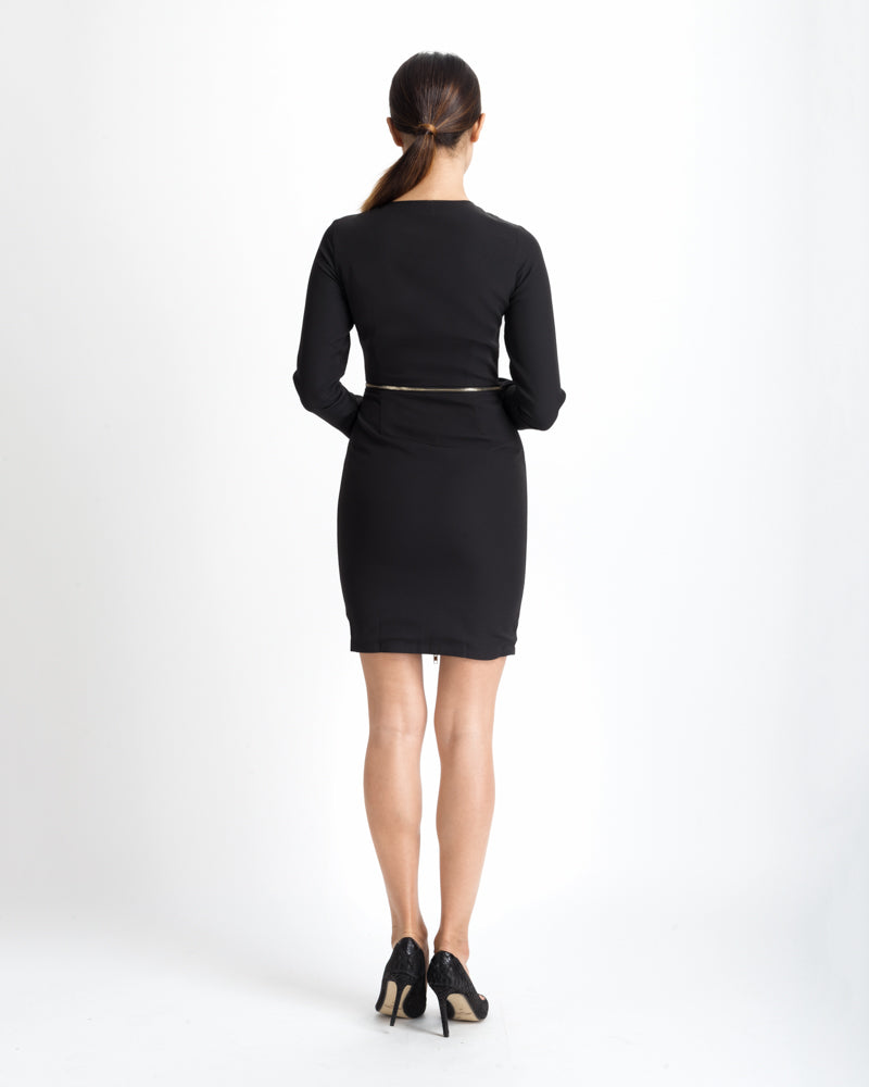 Black Ribbed Zip Front Dress