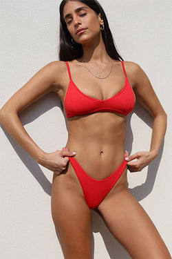 Red Brazilian Bikini Set - Kendal Top Eve Bottom
