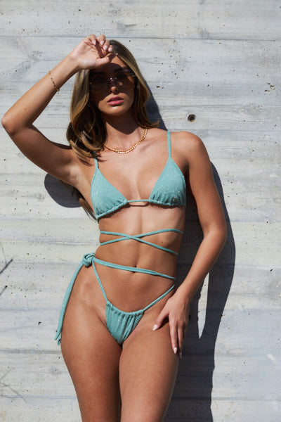 Sparkling Mint Set - Classic Top, One Side Tie Bottom
