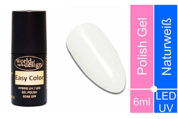 Easy Color LED/UV Polish Gel, Hybridlack, Soak Off Gel ablösbar- Naturweiß, off white 6 ml