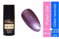 Easy Color LED/UV Polish Gel, Hybridlack, Soak Off Gel ablösbar- Glitter Lavendel 6 ml
