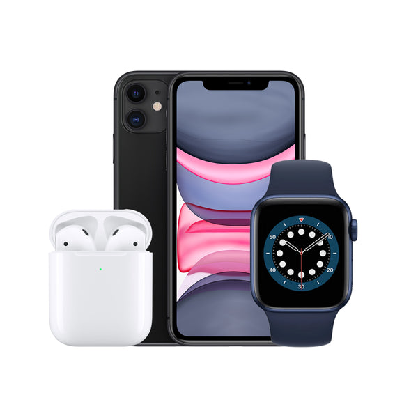 iPhone 11 64GB + Wireless Airpods + Watch Series 6