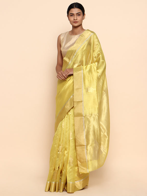 Golden pure pattu silk chanderi saree - chowdhrain