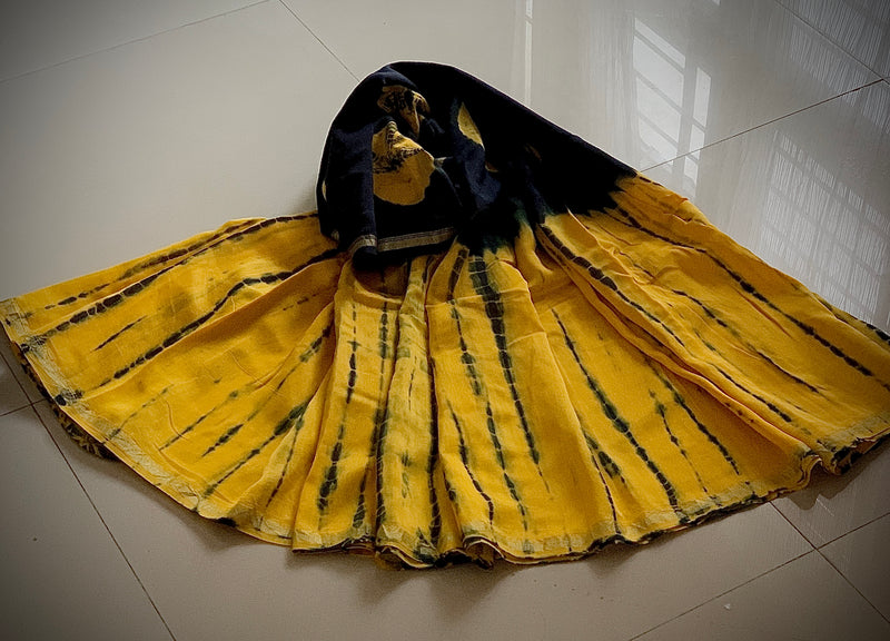 yellow shibori saree