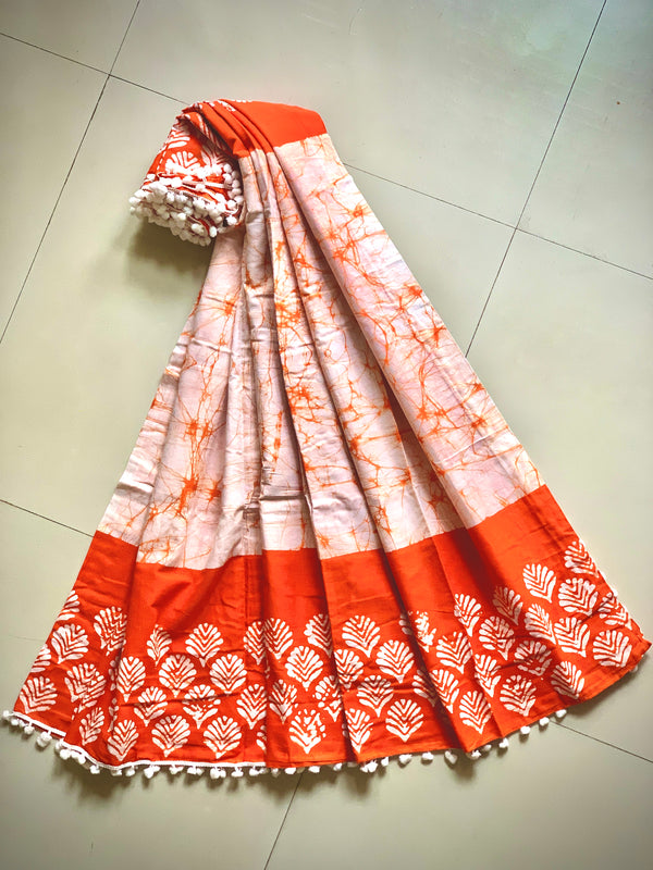 Orange Pine Batik Saree