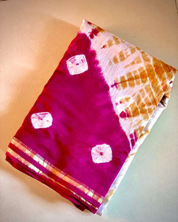 Shibori Chanderi saree