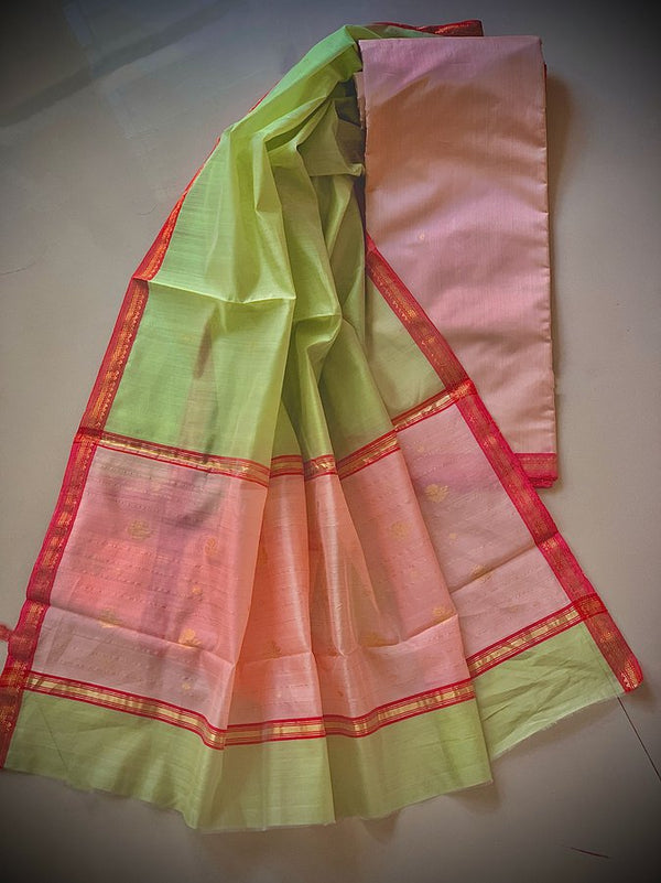 PINK PISTA - Handloom Chanderi Dress Material