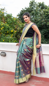 Green pure silk chanderi saree