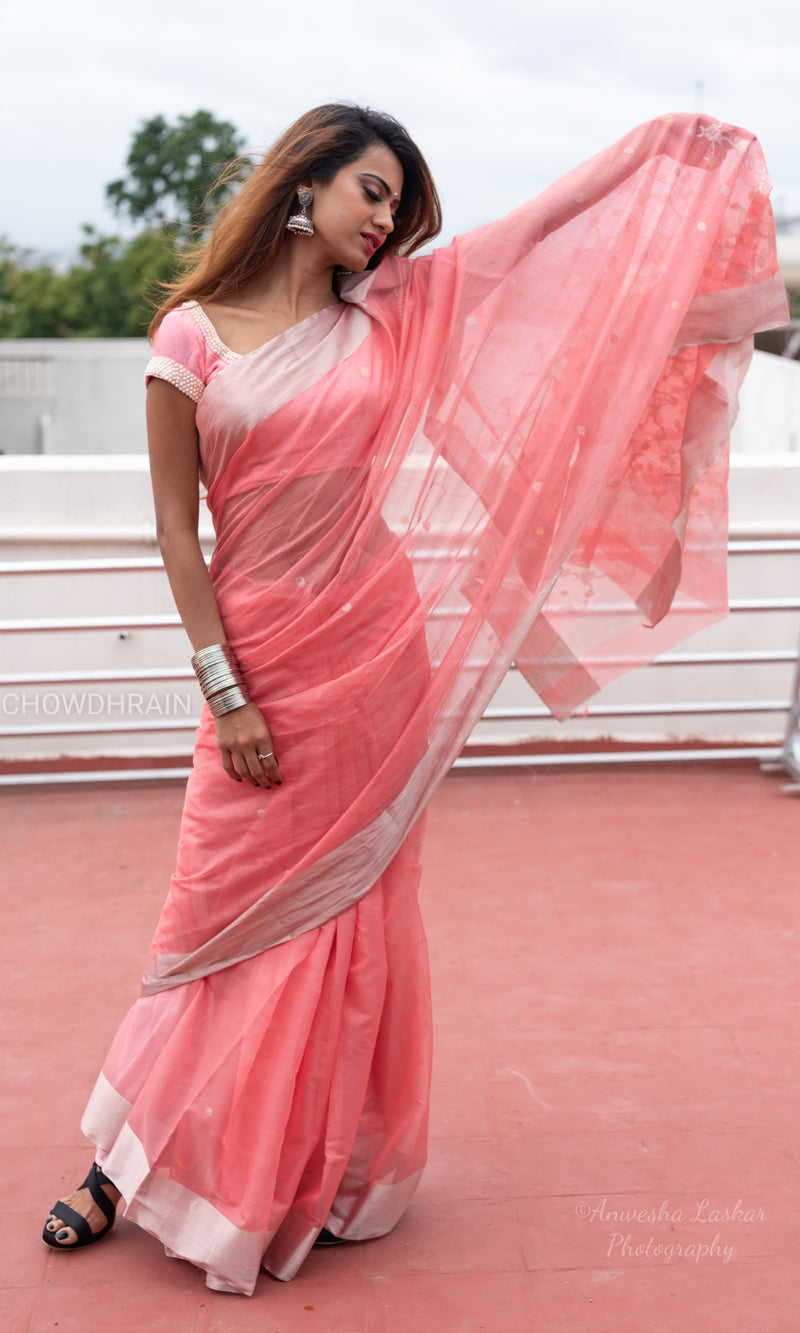 Pink chanderi saree with silver zari