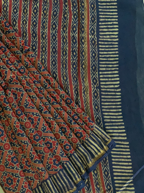Red and blue blockprinted chanderi
