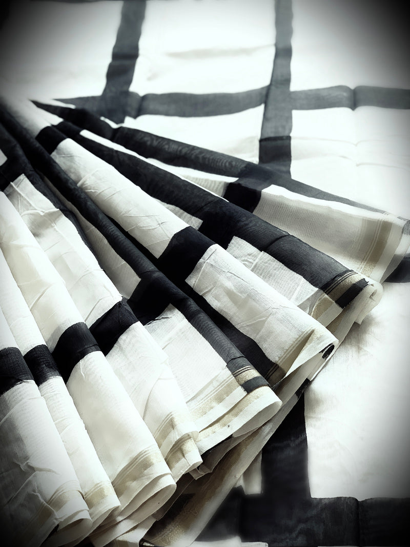 White and black blockprinted chanderi
