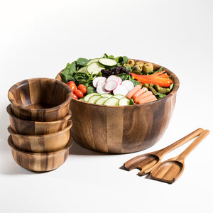 Soro Xtra Large Salad Bowl eith Servers & 4 Individuals