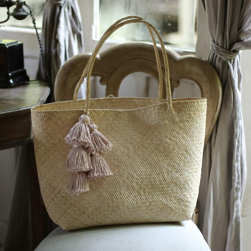 Borneo Sani Straw Tote Bag - with Pale Blush Tassels