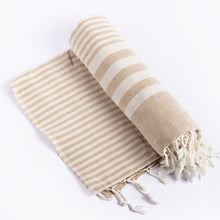 Load image into Gallery viewer, Fethiye Striped Ultra Soft Blanket Throw Beige