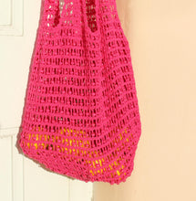 Load image into Gallery viewer, Karma Wooden Beads Crochet Bag in Dragon Fruit Pink