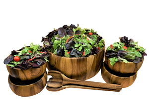 Dragor 7 Piece - Extra Large Salad Bowl with Servers and 4 Individuals