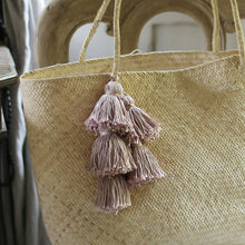 Load image into Gallery viewer, Borneo Sani Straw Tote Bag - with Pale Blush Tassels