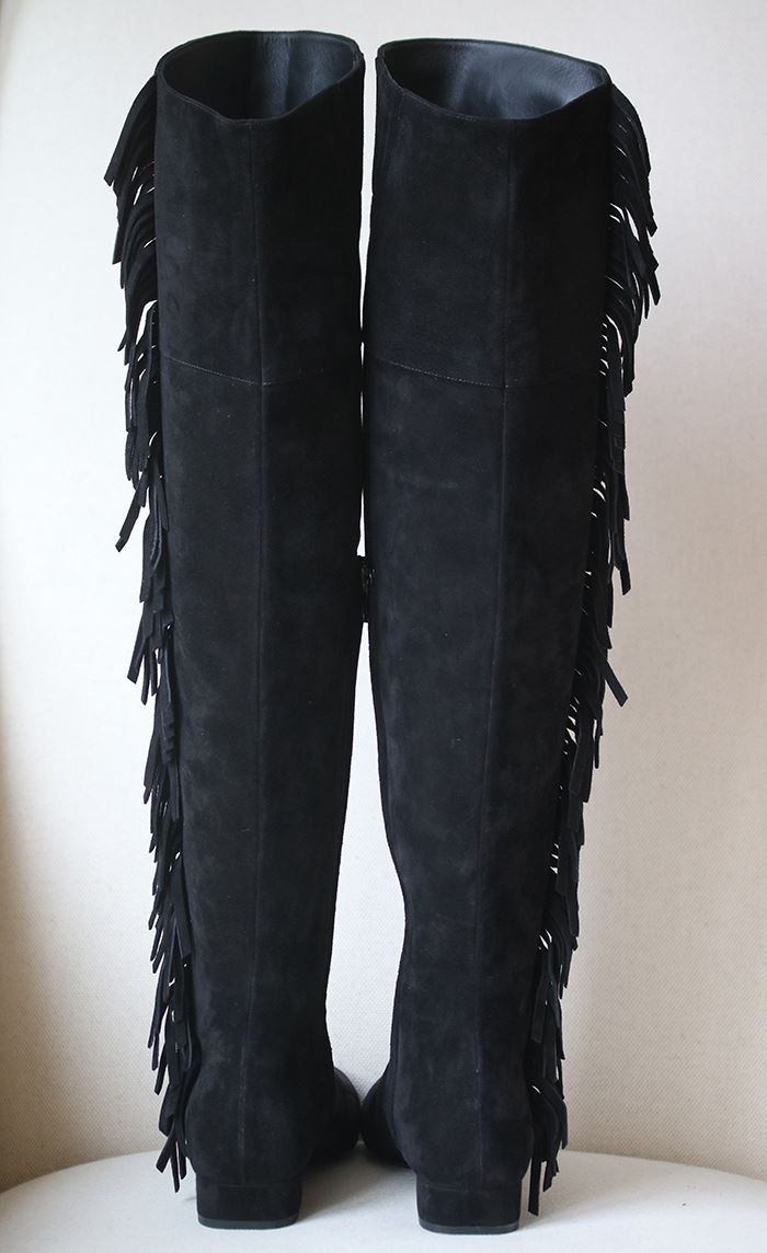 SAINT LAURENT FRINGED SUEDE OVER THE KNEE BOOTS EU 37.5 UK 4.5 US 7.5