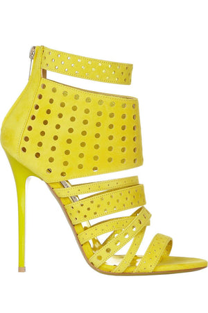 JIMMY CHOO MALIKA PERFORATED SUEDE SANDALS EU 38.5 UK 5.5 US 8.5
