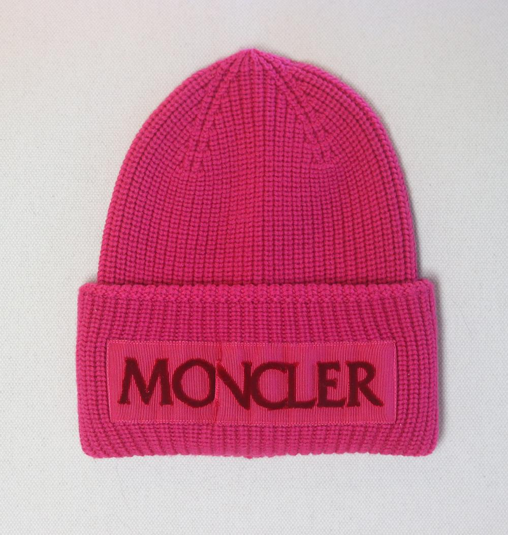 MONCLER FLOCKED GROSGRAIN TRIMMED RIBBED WOOL BEANIE ONE SIZE