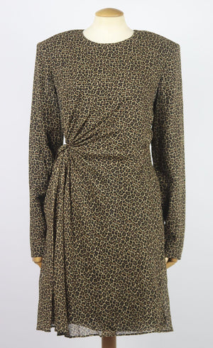 SAINT LAURENT LEOPARD PRINT WOOL MINI DRESS FR 44 UK 16