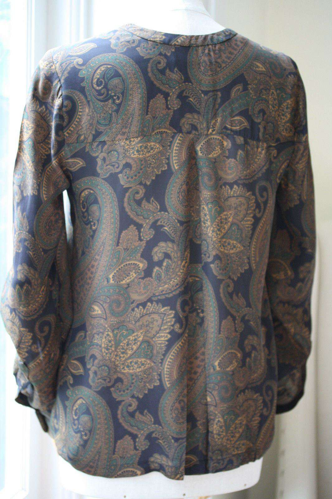 A.L.C. ARI PAISLEY BLOUSE TOP SMALL