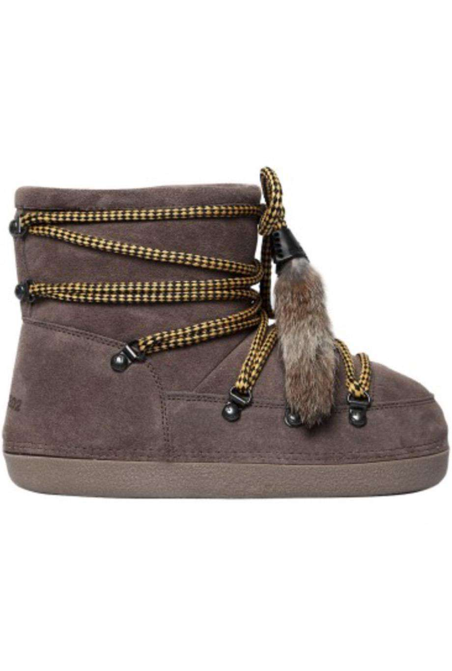 DSQUARED2 RIRI RACCOON FUR AND SUEDE ANKLE BOOTS EU 38-40 UK 5-7 US 8-10