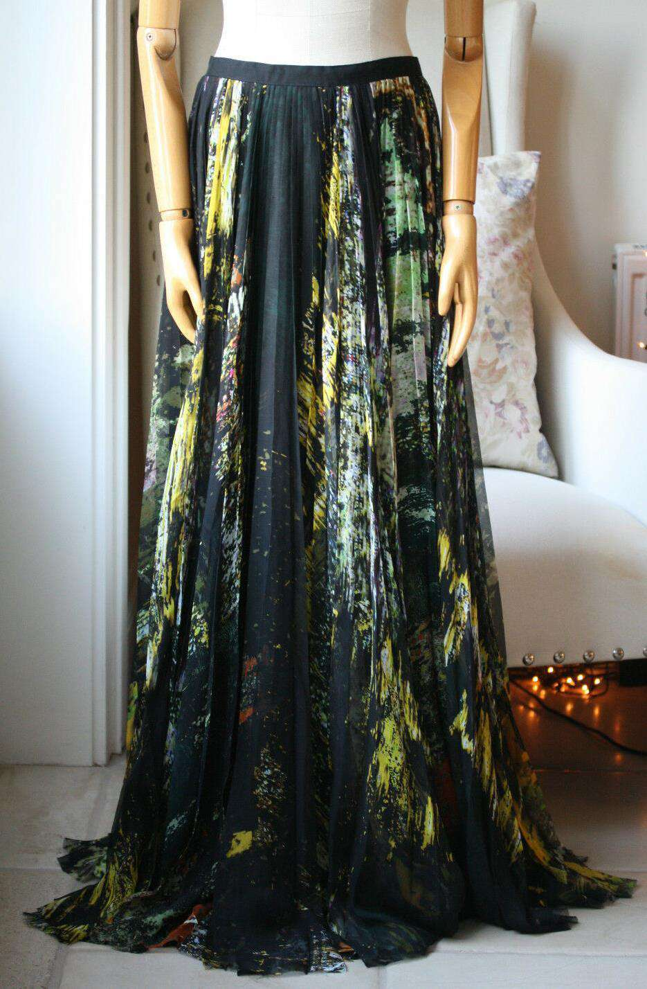 J MENDEL PRINTED SILK MAXI SKIRT US 4 UK 8