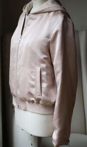 A.L.C. EDISON SATIN BOMBER JACKET LARGE