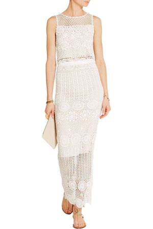 ALICE AND OLIVIA GRISELDA CROCHET MAXI SKIRT SMALL