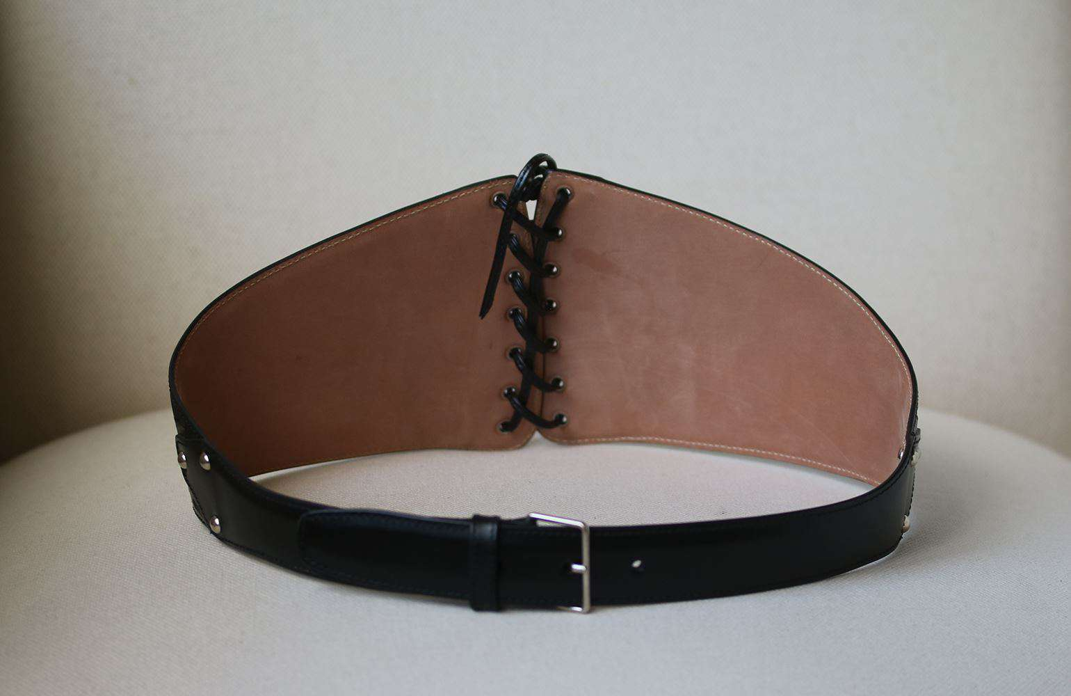 AZZEDINE ALAIA LACE UP CUT OUT LEATHER BELT EU 75 UK 8