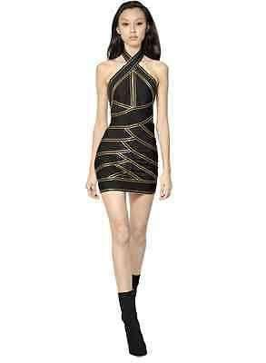 BALMAIN BLACK PUNTO MILANO DRESS FR 38 IT 40/42 UK 8/10