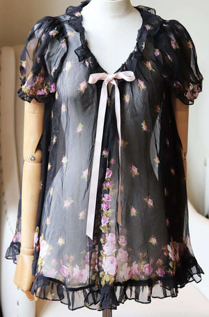 AGENT PROVOCATEUR SYBLE RUFFLED FLORAL PRINT SILK CHIFFON ROBE UK 8