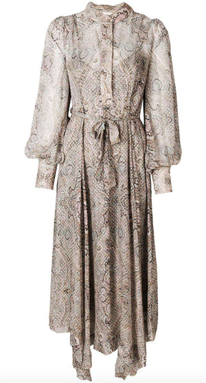 ZIMMERMANN PAISLEY PRINT BELTED MIDI DRESS UK 14