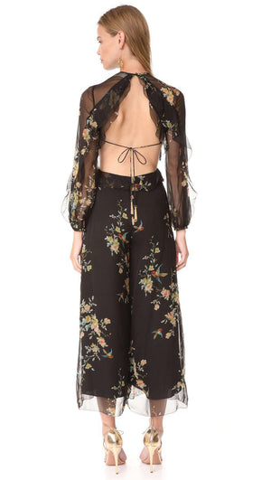 ZIMMERMANN MAPLES DRIFT RUFFLE SILK JUMPSUIT UK 12