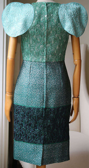 DOLCE AND GABBANA STRUCTURED BROCADE DRESS IT 40 UK 8