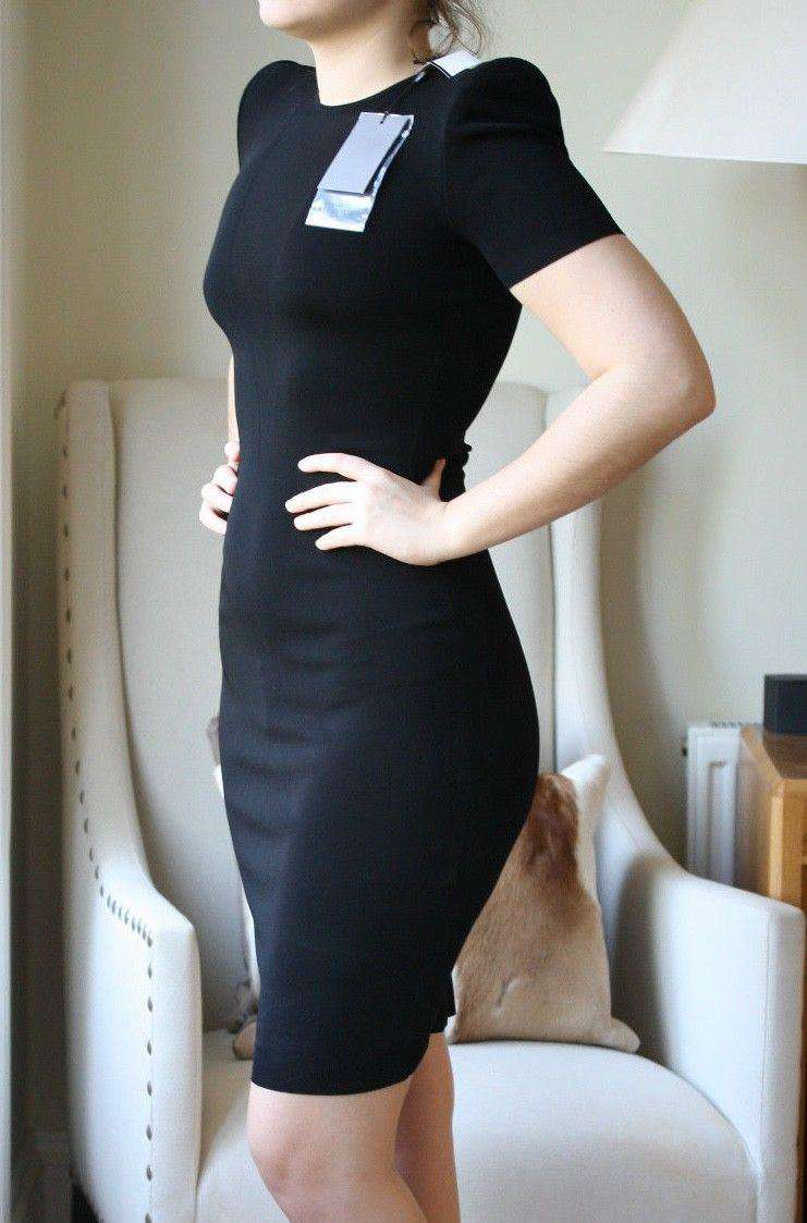 ALEXANDER MCQUEEN BLACK FITTED DRESS SMALL