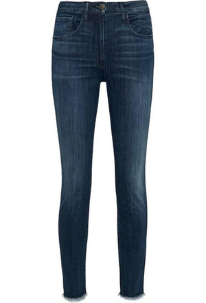 3X1 W3 CROPPED FRAYED HIGH RISE STRAIGHT LEG JEANS W25 UK 6/8