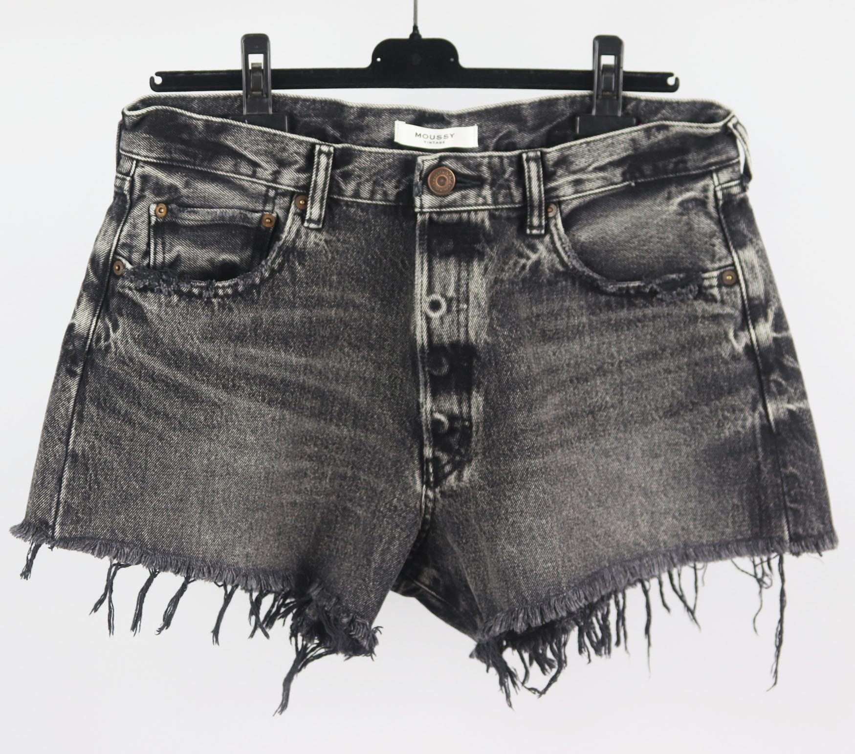 MOUSSY VINTAGE DISTRESSED HIGH WAISTED DENIM SHORTS W30 UK 12
