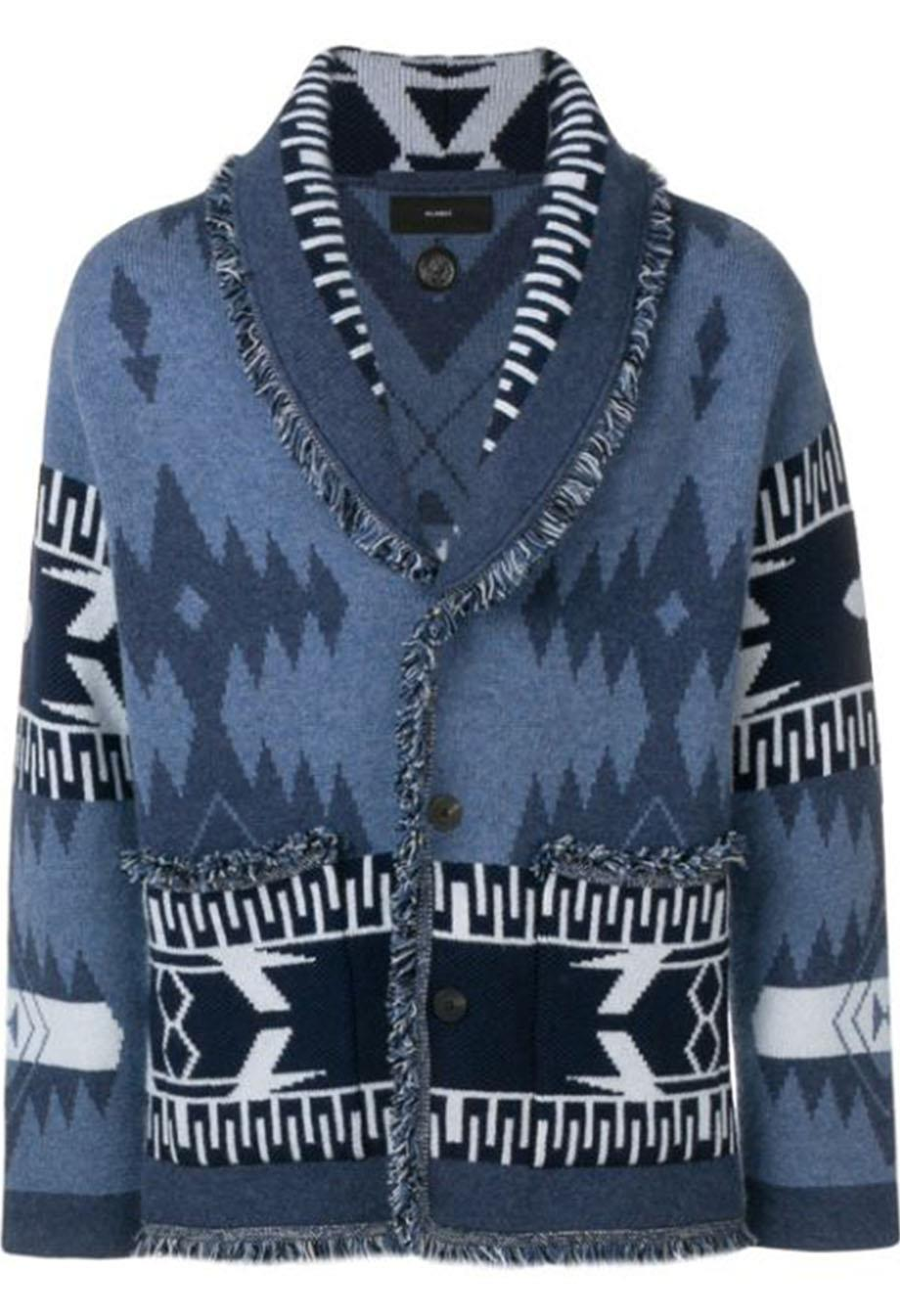 ALANUI FRINGED CASHMERE JACQUARD CARDIGAN MEDIUM
