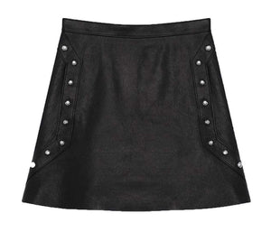 SAINT LAURENT STUDDED LEATHER MINI SKIRT FR 36 UK 8