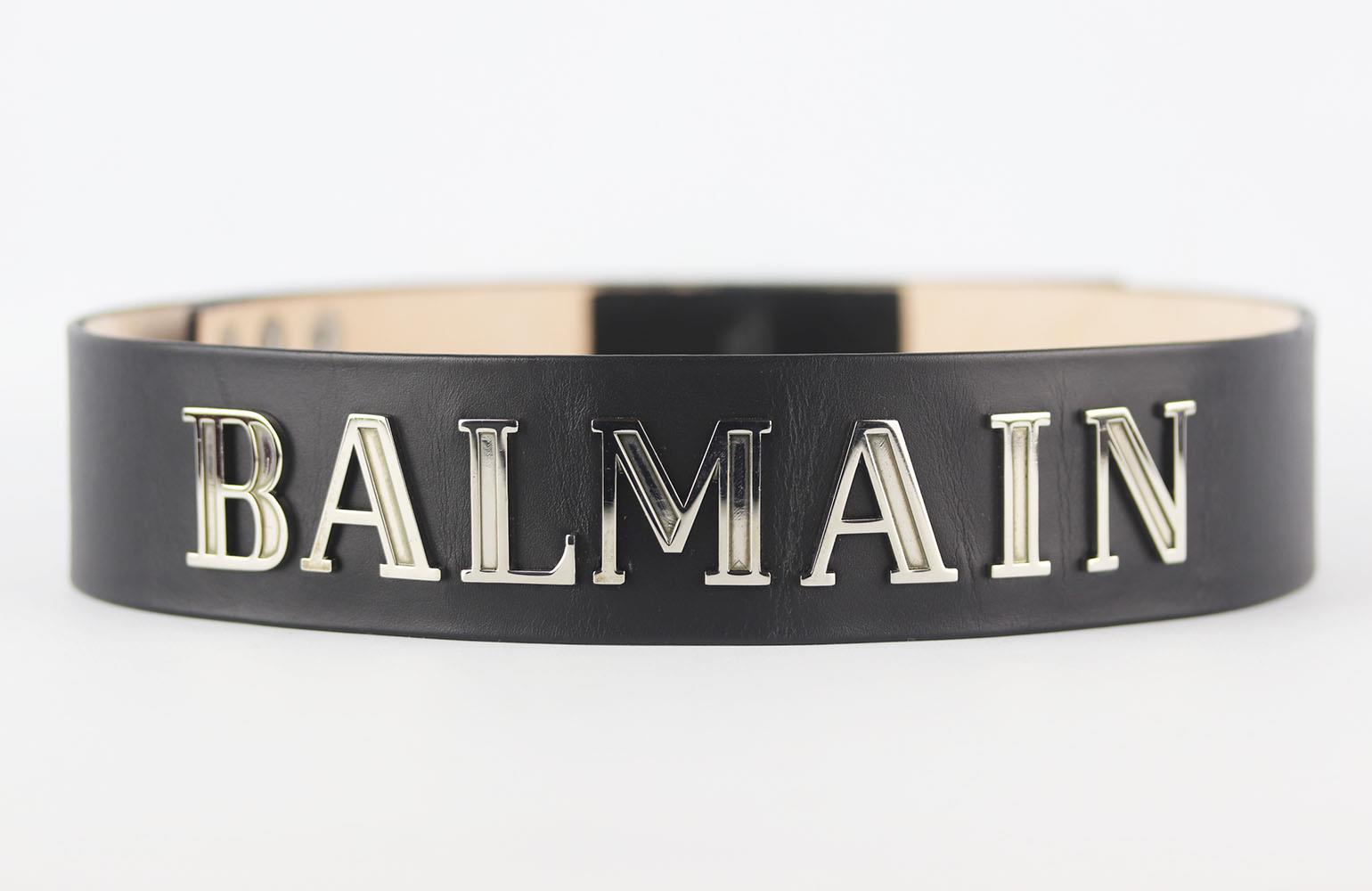 BALMAIN LOGO EMBELLISHED LEATHER WAIST BELT FR 40 UK 12